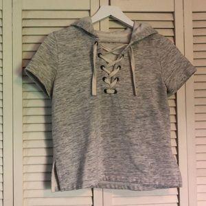 Gray Short Sleeve Hoodie Sweatshirt